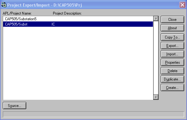 Exporting/importing existing file for CAP505